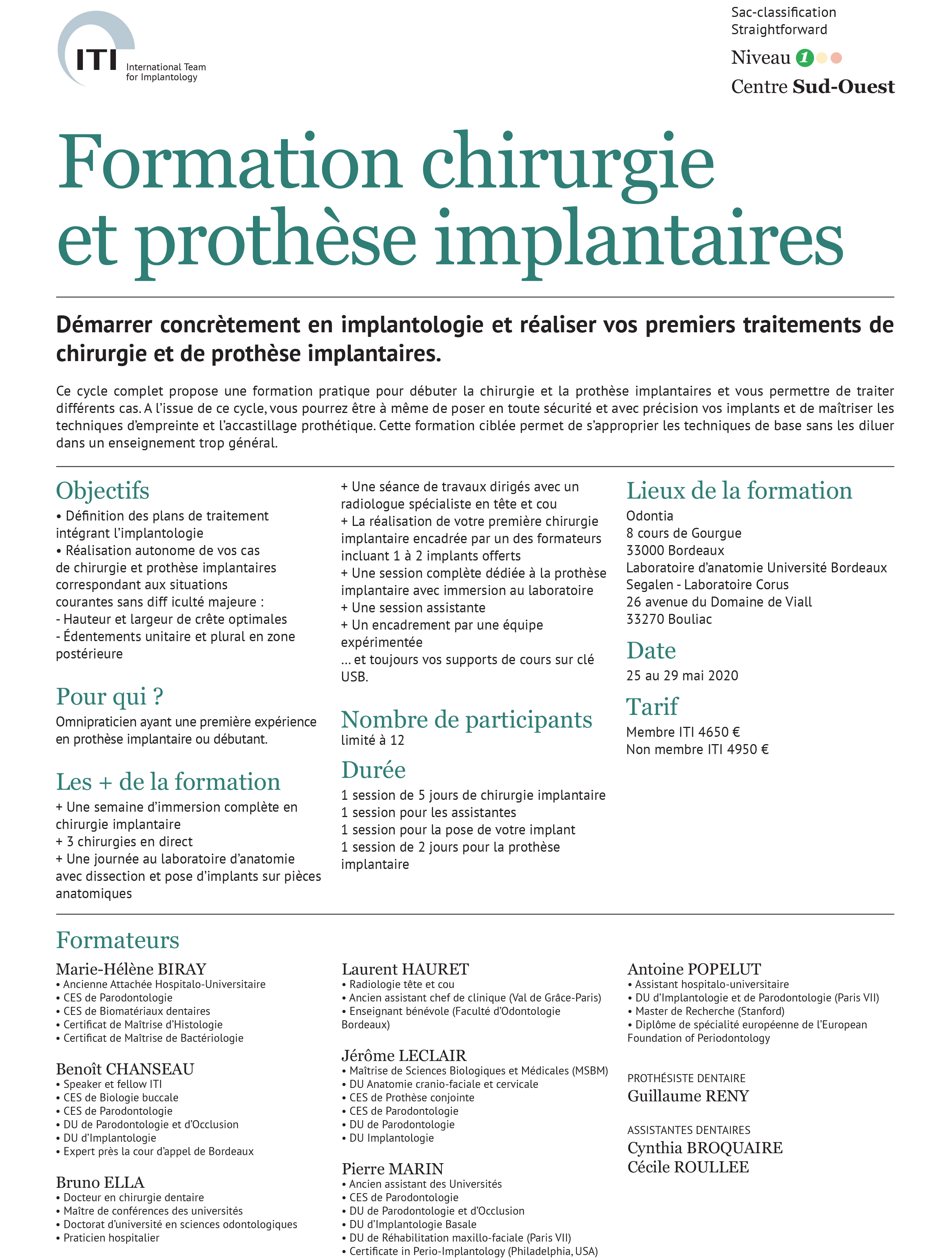 ITI Formation chirurgie et prothese implantaires